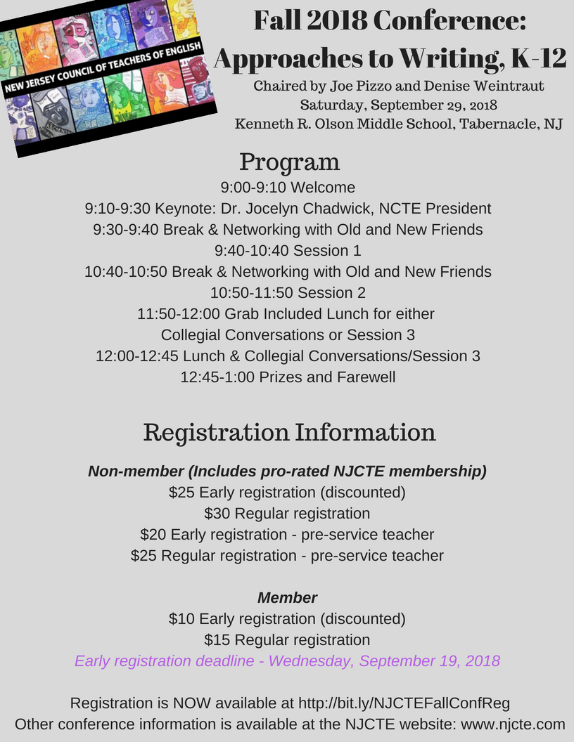 Njcte Fall 2018 Conference Registration Open New Jersey Council